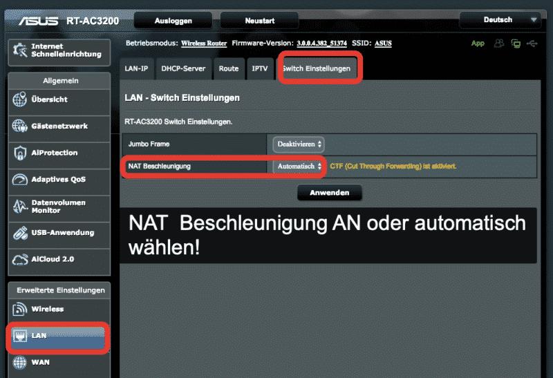 NAT Beschleunigung am Router AN oder automatisch wählen
