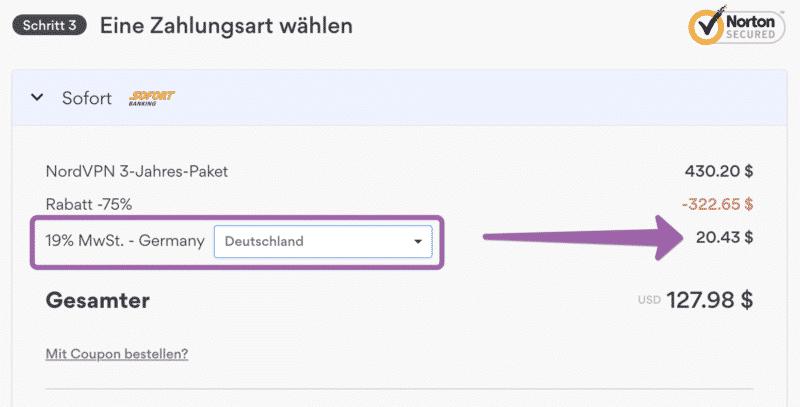 NordVPN Mehrwertsteuer für Deutschland
