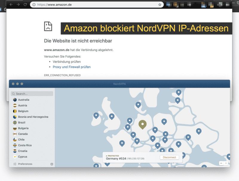Amazon blockiert NordVPN IP-Adressen