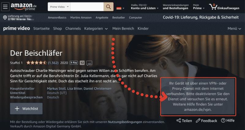 Amazon Prime Video blockiert NordVPN Nutzer