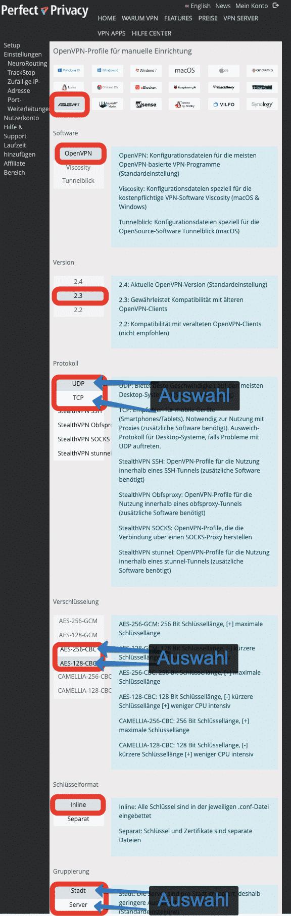OpenVPN Konfigurationen für ASUSWRT