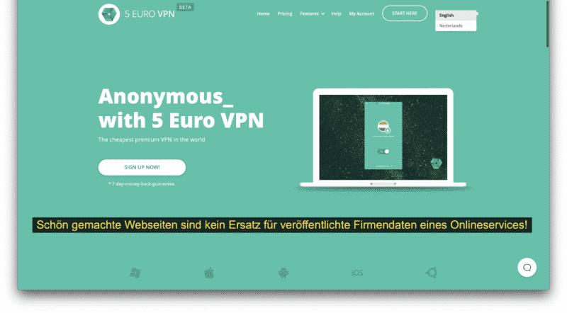 5eurovpn.com Webseite