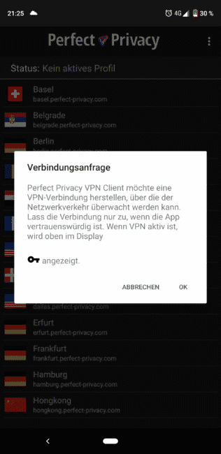 Perfect Privacy für Android