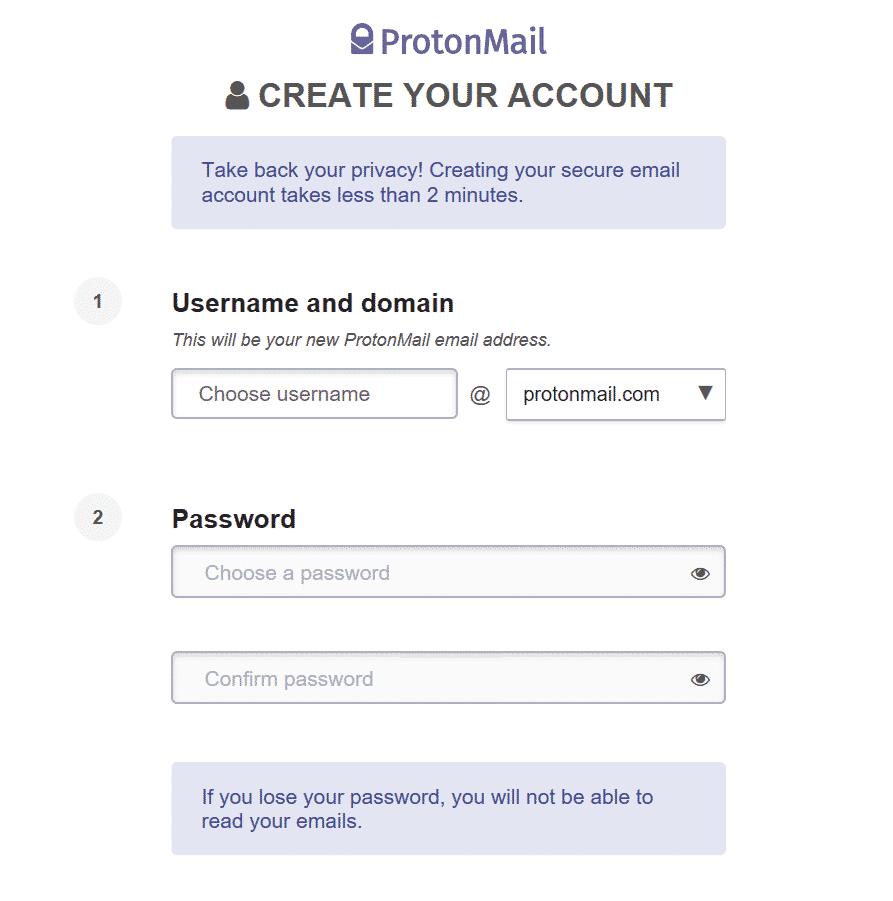 ProtonMail Anmeldemaske