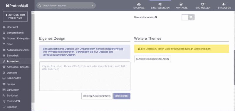 ProtonMail deutsch ist übersichtlich im Design