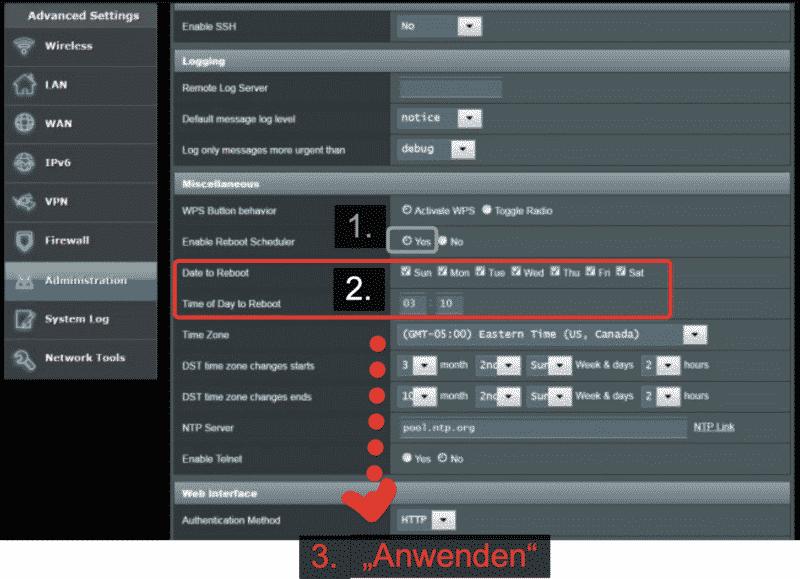 ASUS Router Reboot Sheduler