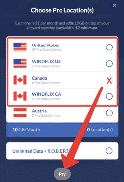 Standort zum Verbinden wählen USA oder Kanada