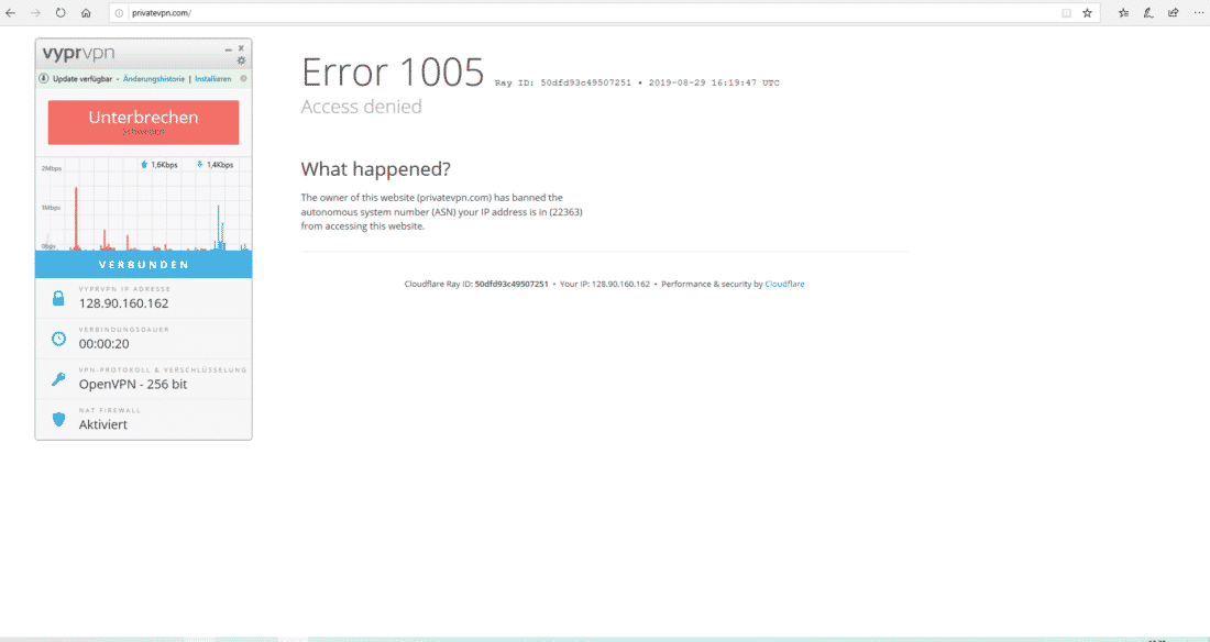 Fehlermeldung bei PrivateVPN mit verbundenem VyprVPN
