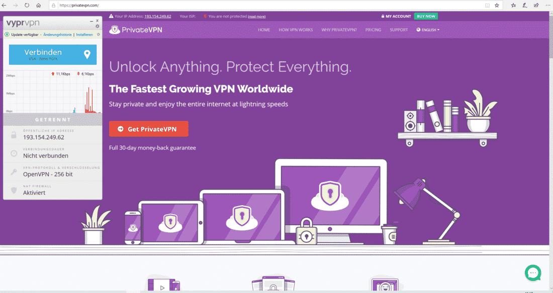 PrivateVPN Zugang, sobald VPN getrennt ist.