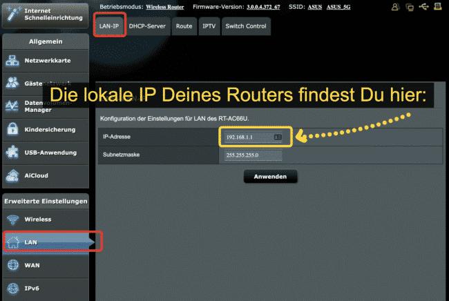 LAN IP des Routers anzeigen