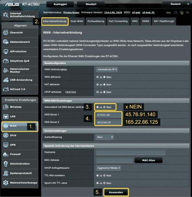 VyprVPN DNS für Streaming eintragen (Deutschland)