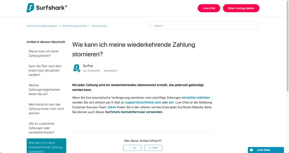 Erklärung und Links von Surfshark