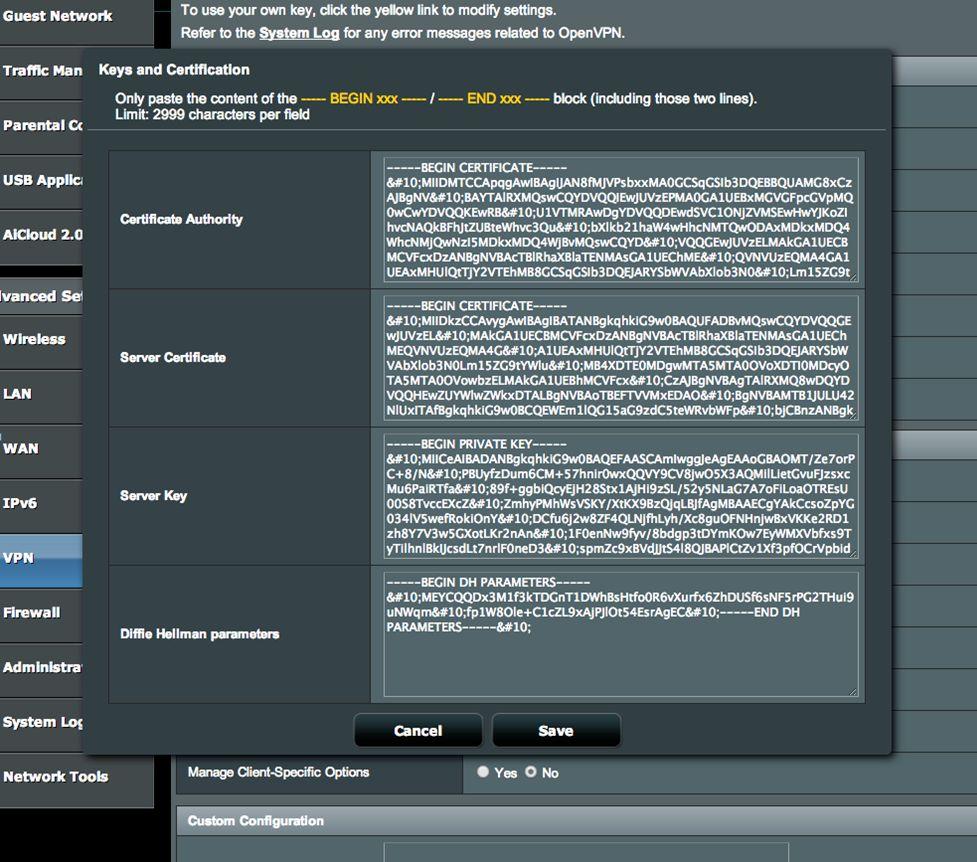 ASUS Router OpenVPN Server einrichten 06