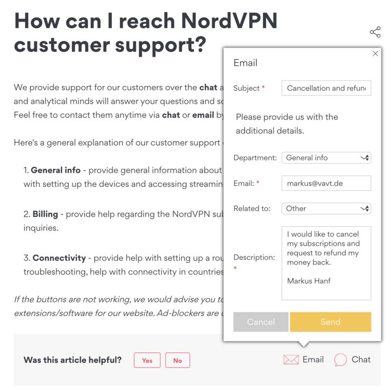 NordVPN Geld zurück fordern