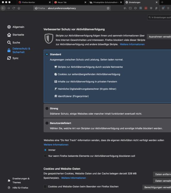 Firefox Privatsphäre Einstellungen