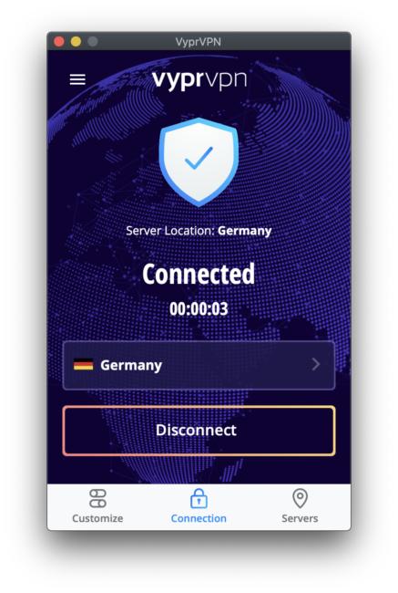 VyprVPN verbunden mit Deutschland