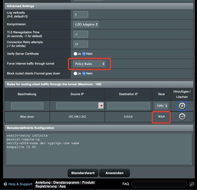 ASUSWRT by Merlin - BYPASS ein Gerät ohne VPN nutzen