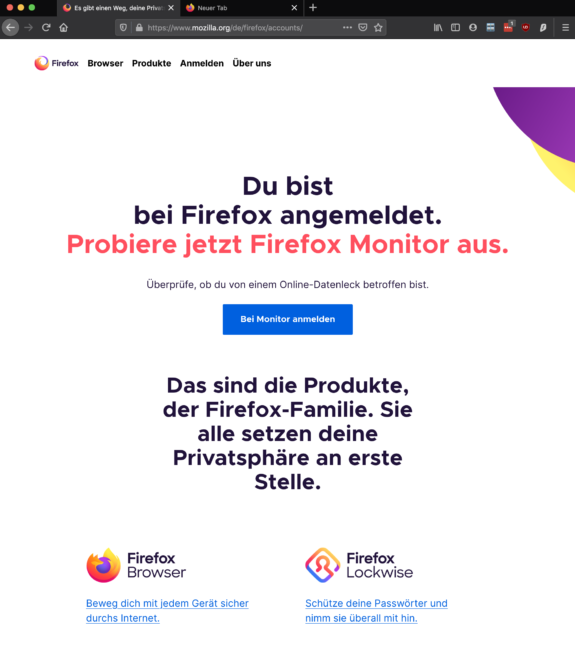 Firefox Datenleaks prüfen - Anmeldung