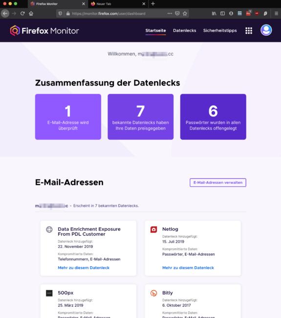 Firefox Datenleaks Übersicht