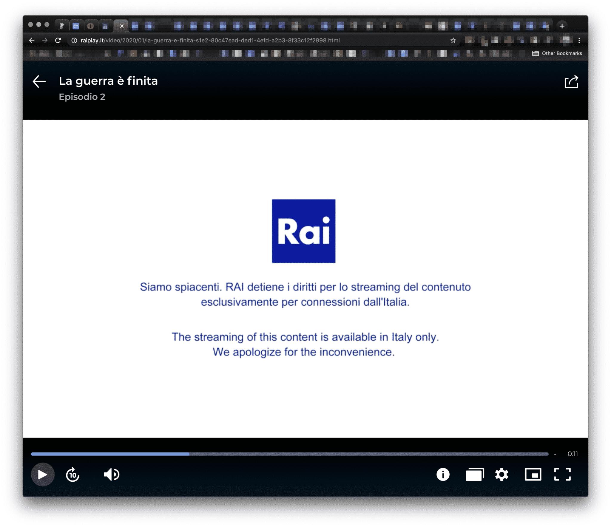 RAI im Ausland Fehlermeldung