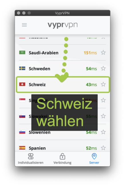 Schweiz suchen und wählen