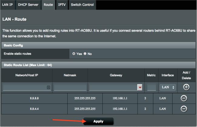 Öffentliche DNS auf ASUS Router blockieren