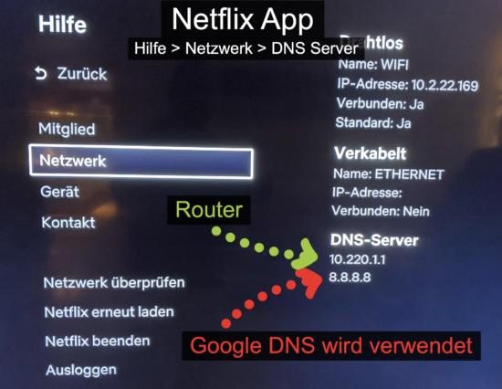 DNS Server der Netflix App