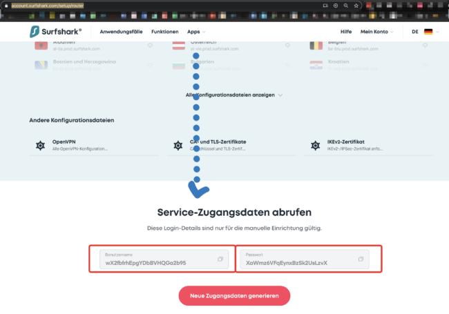 Router Zugangsdaten für VPN Verbindungen