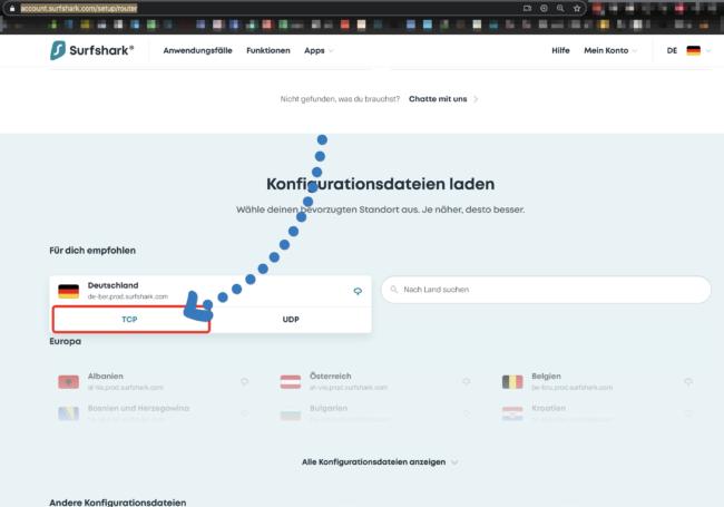 Surfshark Konfiguration (OVPN) für Router laden
