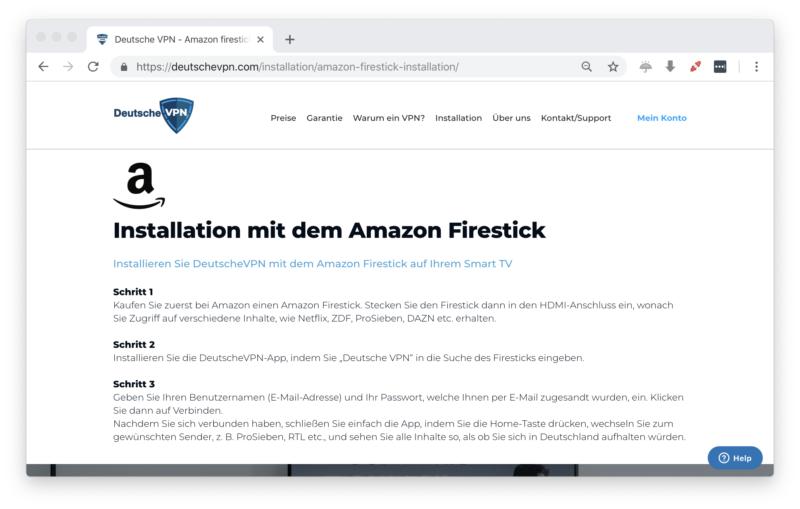 deutschevpn.com - FireTV Anleitung