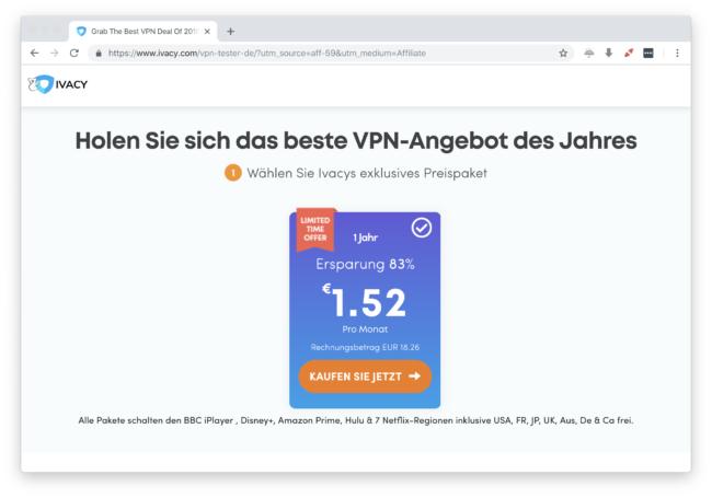 IvacyVPN mit dem besten Preis bei kurzer Bindung