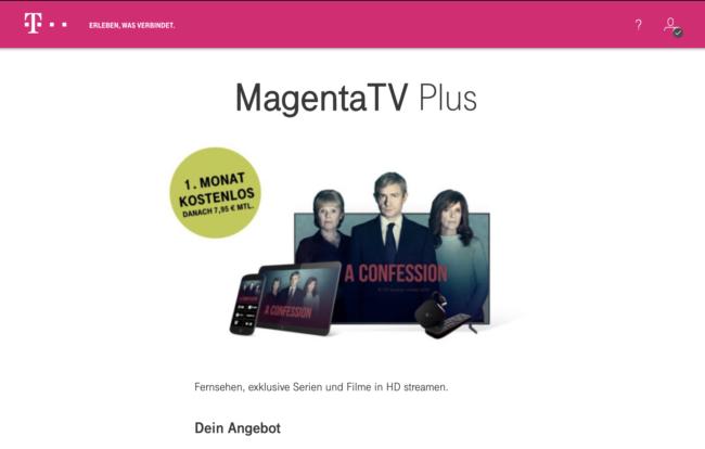 MagentaTV Plus Anmeldeseite aufrufen