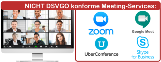 Nicht DSVGO konforme Online-Meeting-Services