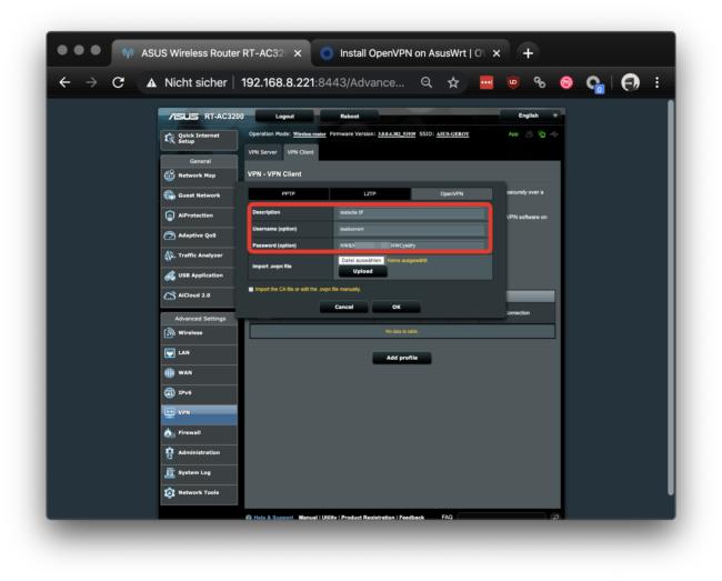 ASUS Router Benutzername + Passwort eingeben