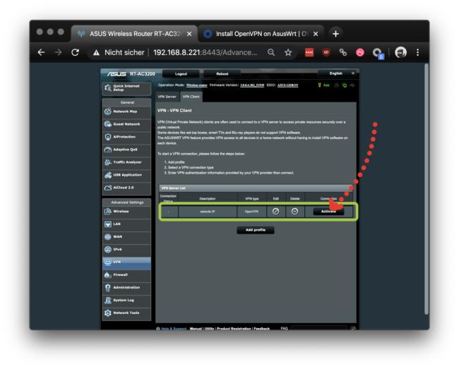 VPN Profil wird angezeigt