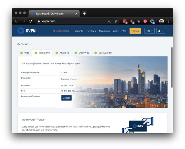 OVPN statische IP bestellen