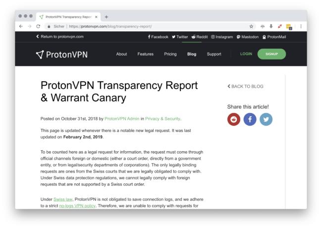 Öffentliche Transparenzberichte von ProtonVPN