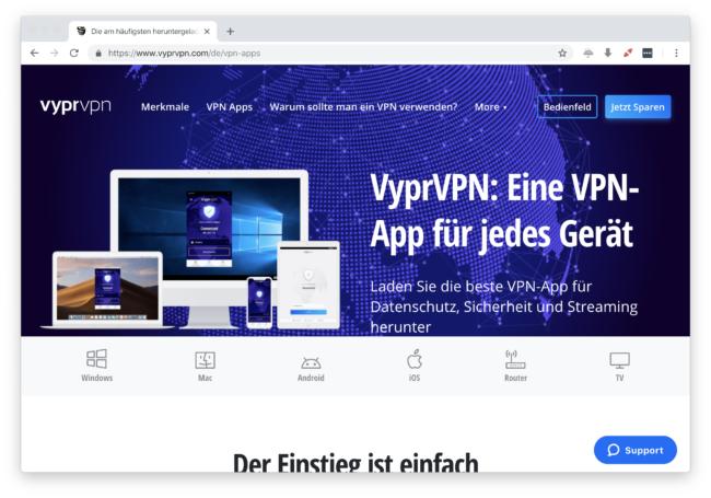 Deutschsprachige Apps für alle Geräte von VyprVPN