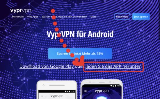 VyprVPN Android APK verwenden