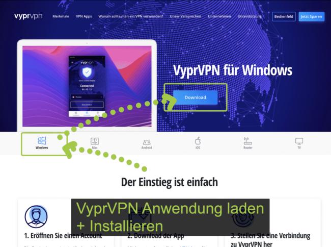 VvprVPN Software wählen und installieren