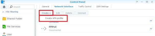Synology NAS VPN Profil anlegen
