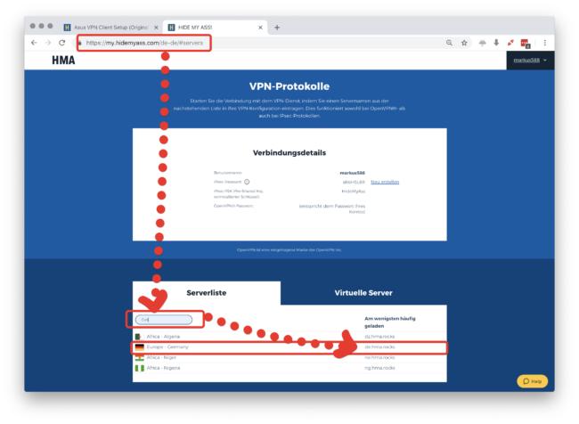 HideMyAss VPN Servername finden