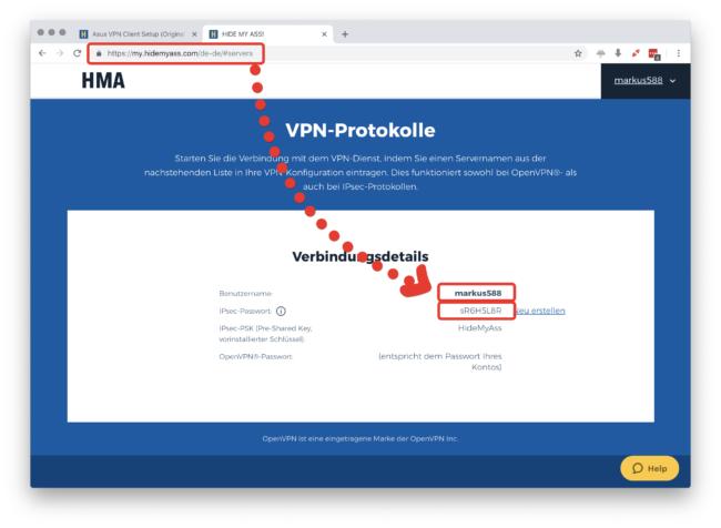 HideMyAss VPN Zugangsdaten finden