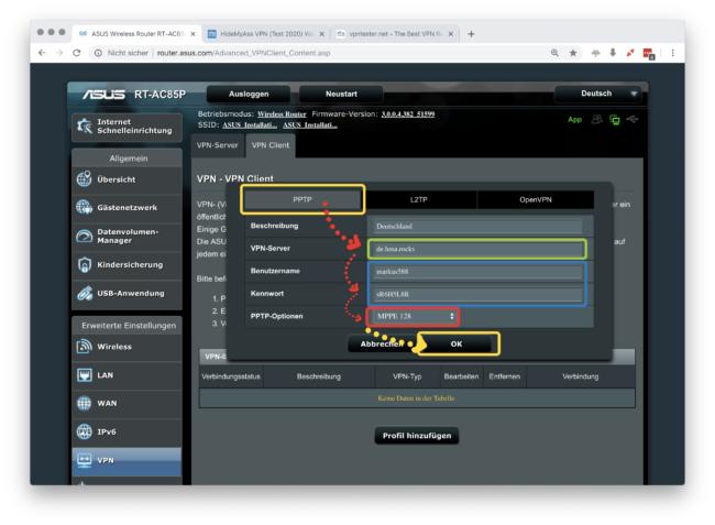 HideMyAss VPN Verbindungsdaten eingeben