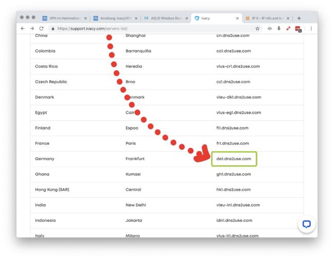 Ivacy Server Namen merken
