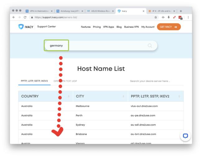 Öffne die Ivacy Server Liste