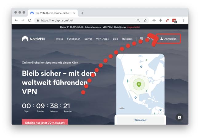 NordVPN kündigen: Webseite anmelden