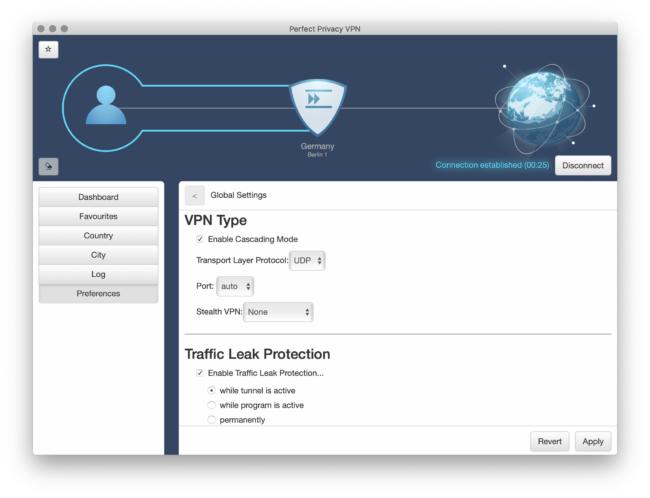 Perfect-Privacy Anwendung Einstellungen