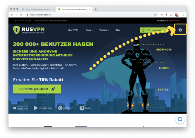 RUSVPN Webseite öffnen