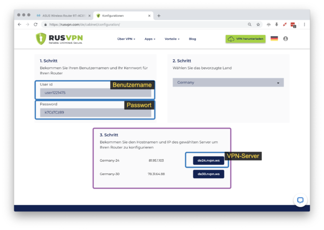 Konfigurationsdaten für RUSVPN